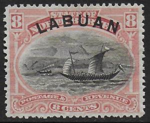 Labuan | North Borneo 1894 Dhow 8c #54 Fine Heavily hinged, o.g. CV $8.75
