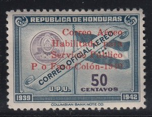 Honduras 1940 50c Colombus Memorial Overprint Error LM Mint. Scott C106 var
