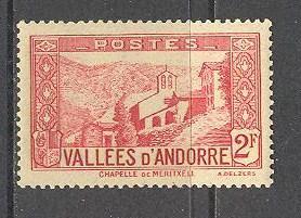 ANDORRA FRENCH Sc# 56A MNH FVF Chapel of Meritxell