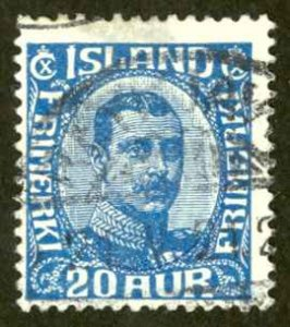 Iceland Sc# 118 Used 1920-1922 20a Christian X