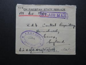 Pakistan 1952 Service Censor Cover to RAF HQ UK / Light Fold - Z10657