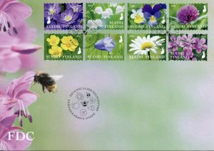 Finland Wild Flowers Stamps 2020 FDC Snowdrops Daisies Flora Nature 8v S/A Set