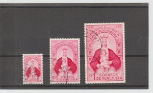 Venezuela  Scott#  641-3  Used  (1952-3 Virgin of Coromoto and Child)