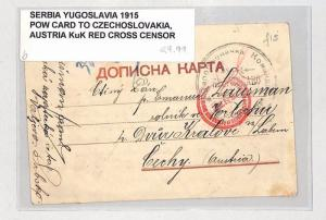 I305 1915 Serbia, Yugoslavia POW Card to Czechoslovakia, Austria KuK Red Cross