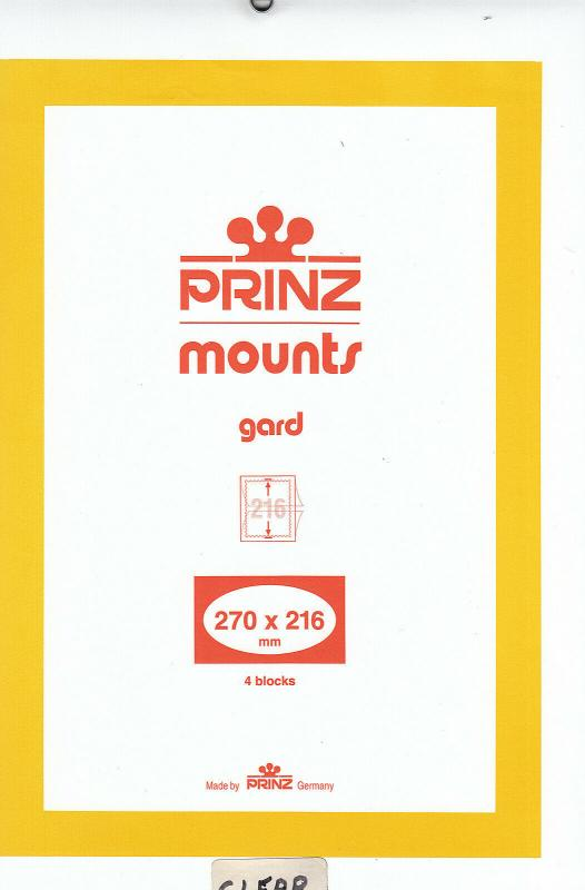 PRINZ CLEAR MOUNTS 270X216 (4) RETAIL PRICE $10.50
