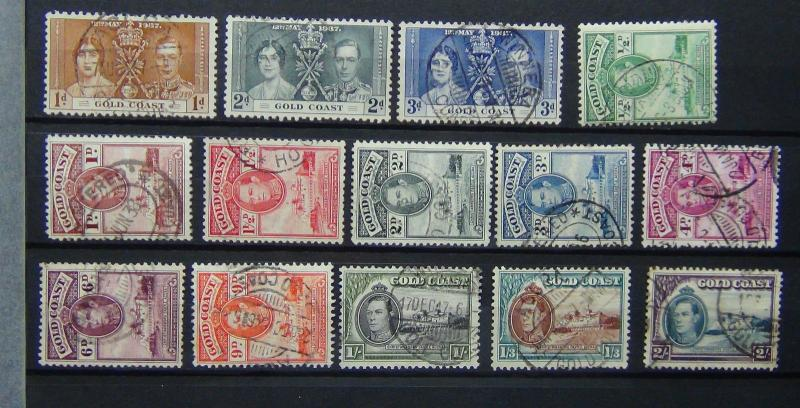 Gold Coast 1937 Coronation 1938 - 43 values to 2s Used