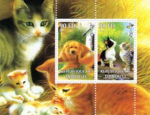 Djibouti 2004 Cats & Dogs Shlt (2) Perf.MNH VF