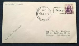 New Zealand 1933 MARINE POST OFFICE RMS MONOWAI PACKET BOAT Cover to California