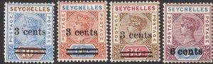 SEYCHELLES-1901 Surcharge Set Sg 37-40 LIGHTLY MOUNTED MINT V49933