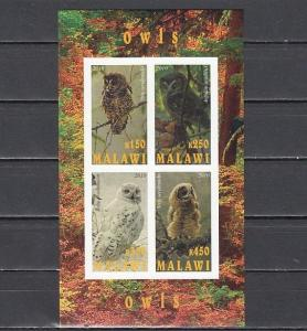 Malawi, 2010 Cinderella issue. Various Owls, IMPERF sheet of 4.