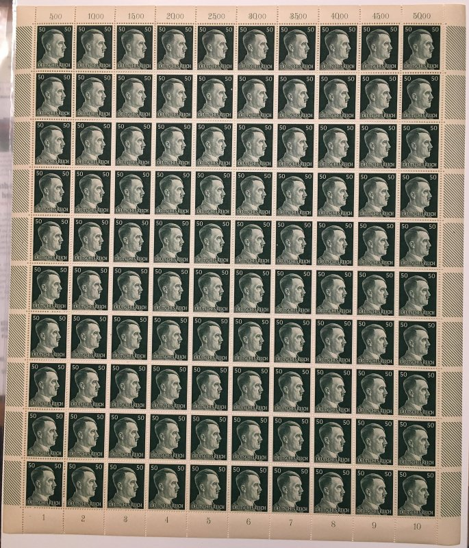 Germany 521, 50pf., 14 perf, MNH full sheet, Vic's Stamp Stash