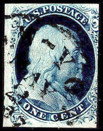 U.S. #8A Used with PSE Cert, Creased at left center
