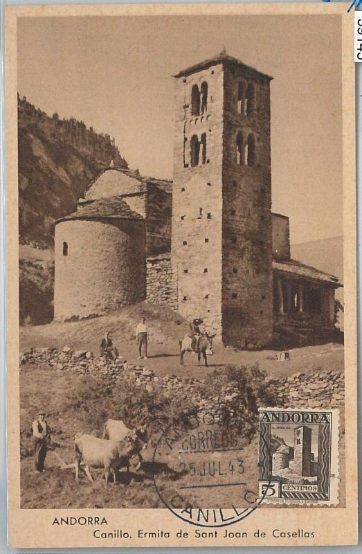59143  -  ANDORRA - POSTAL HISTORY: MAXIMUM CARD 1943 - ARCHITECTURE