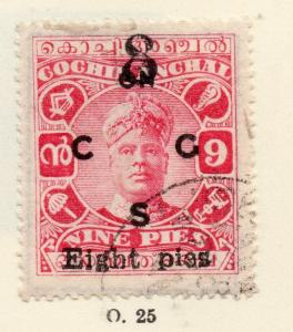Cochin 1919-33 Early Issue Fine Used 9p. Optd 268174