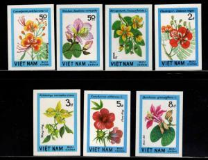 Unified Viet Nam Scott 1370-1376 Imperforate Flower set NGAI