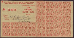1948 CLOTHING RATION CARD COMPLETE WITH 56 COUPONS - 553765  (RU5192)