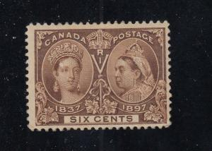 CANADA # 55 MH 6cts YELLOW BROWN DIAMOND JUBILEE CAT VALUE $200