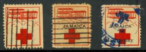 JAMAICA 1915-16 RED CROSS ROYAL FLYING FUND & POLISH JEWS RELIEF LABELS 3 DIFF