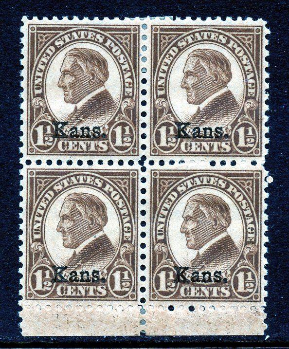 U.S. Scott 659 1.5-Cent Kansas Unused Block Picturing Warren G Harding