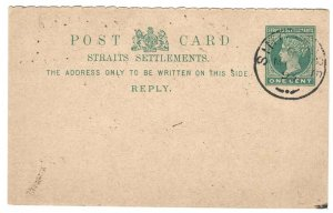 Malaya - Straits 1893 ½d postal card, reply half fine used Singapore cds but...