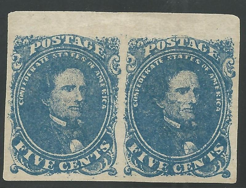 CSA Scott #4 Stone 2 Pos 4-5 Mint NG Pair of Confederate Stamps VF
