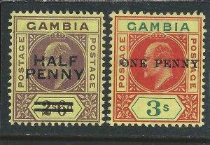 GAMBIA 1906 OVERPRINT PAIR MM SG 69/70 CAT £115