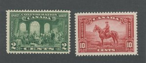 2x Canada Stamps #142-2c Confederation MNH #223-10c Mountie Guide Value = $15.00