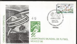 J) 1977 MEXICO, SPECIAL CANCELLATION, WORLD, MAP, BALL, MEXICO 86, 50TH ANNIVERS