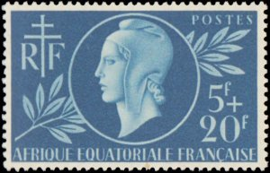 French Equatorial Africa #B38, Complete Set, 1944, Red Cross, Hinged