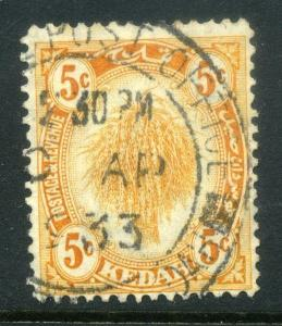 MALAYA  KEDAH  1930s early issue fine used 5c. value good Postmark