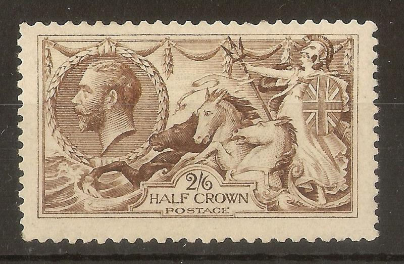 GB 1918 GV 2/6d Seahorse SG413A (Olive) MNH Cat£350