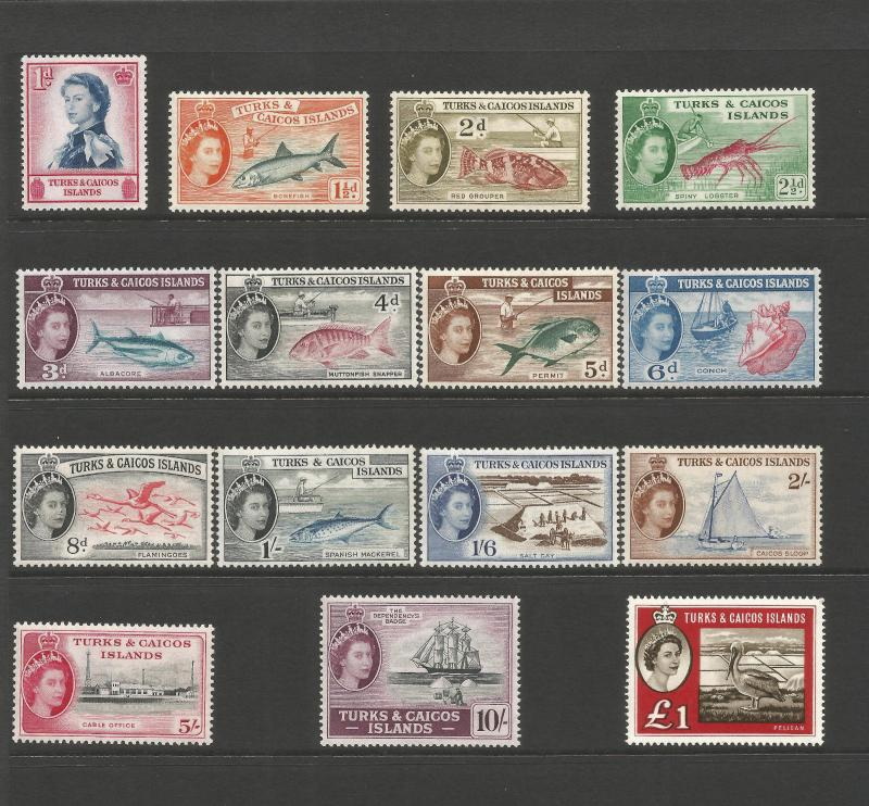 Turks & Caicos Islands 1957-60 set of 15 SG237-253 Unmounted Mint
