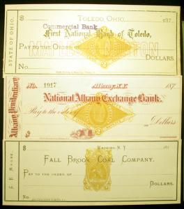 #RN-B1 & RN-G1  2c Orange 1870s Revenue Stamp on Unused Bank Checks 3 items