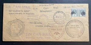 1936 Limerick Fiji Tin Can Canoe Mail cover To Niuafoou Tonga Toga Via Apia