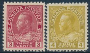 CANADA #109-110 VF // XF OG LH CV $65 BU2053
