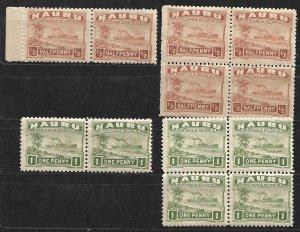 COLLECTION LOT OF NAURU 2 PAIRS & 2 BLOCKS 0F 4 MNH STAMPS 1924