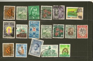 Ceylon Collection of 18 Different Old Stamps Used