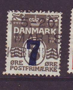 Denmark Sc 181 1929 7 o ovpt on 8 o stamp used