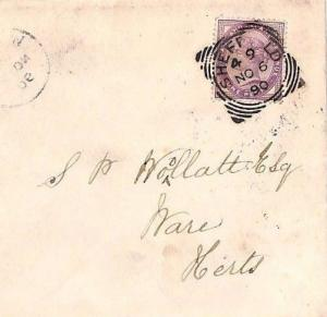 JJ101 1890 GB SQUARED CIRCLES *Sheffield* Unusual *4_9* Code Penny Lilac Cover