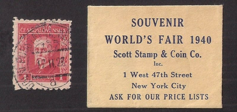 1940 WORLD'S FAIR: SCOTT STAMP & Coin Co. giveaway w/ Stamp WITHIN, very SCARCE!