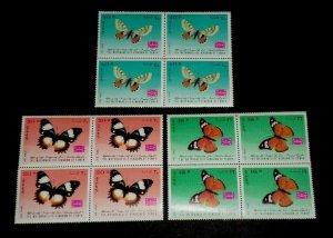 TOPICAL, BUTTERFLIES, 1968, YEMEN, SET OF 3 BLKS/4, MNH, LOT #19, NICE,LQQK