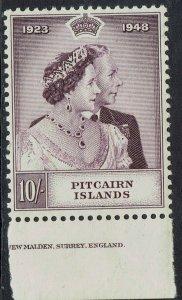 PITCAIRN ISLANDS 1949 KGVI SILVER WEDDING 10/- MNH ** PART IMPRINT