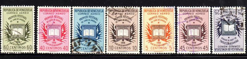 VENEZUELA #C629-C635  1956-7 BOOK & FLAGS OF AMERICAN NATIONS    F-VF USED