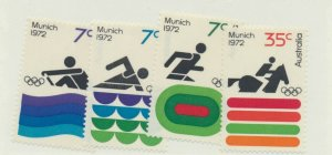 Australia Stamps Scott #527 To 530, Munich Olympic Games Issue From 1972