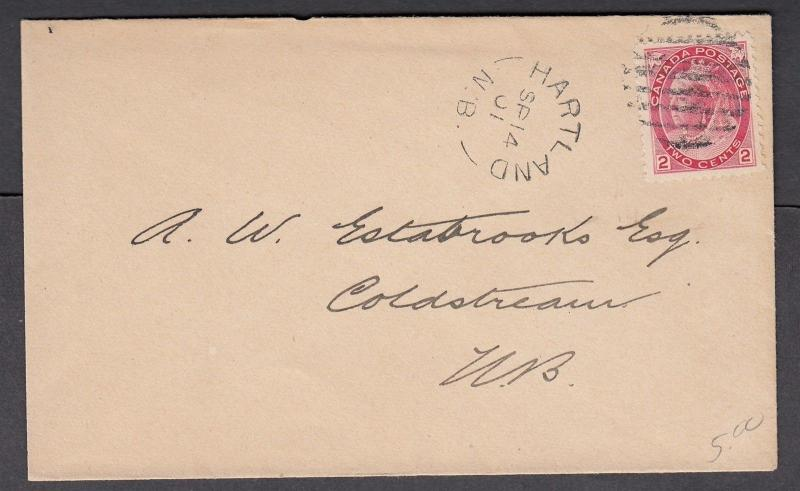 NEW BRUNSWICK SPLIT RING TOWN CANCEL COVER HARTLAND