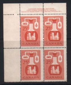 Canada #363 Mint Misperf Variety Plate Block