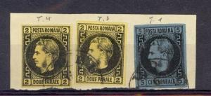 Romania Scott 29 (x2) and 30 on piece (Catalog Value $765.00)