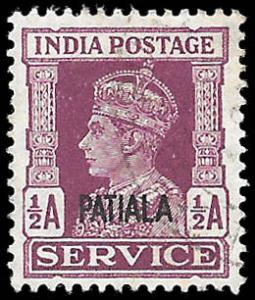 INDIA PATIALA  SC# O65  -  USED - NICE ALBUM SPACE FILLER