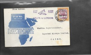 SUDAN 1931 IMPERIAL AIRWAYS FIRST FLIGHT COVER TO LONDON