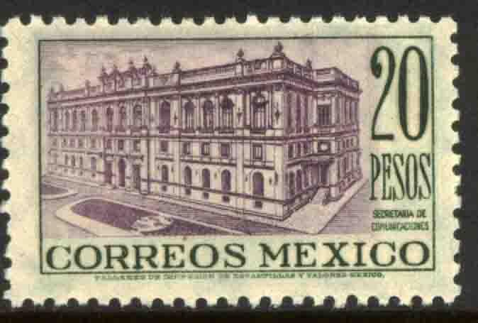 MEXICO 829 $20Pesos Ministry of Communications Bdg MINT, NH. VF.